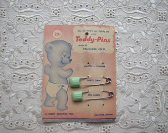 2 Vintage Teddy Pins Mint Green Plastic Safety Clasp Baby Diaper Pins