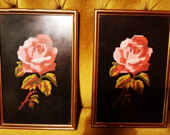 Pair of vintage shabby chic rose cross stitch framed pictures