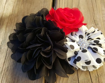 Hair Accessory, Girls Accessory, Girls Hairclip, Photo Prop, Spring Flower, Flower Girl, Black/Red Flowers, Black/White Polka Dot, Easter