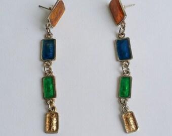 Clearance Cute Vintage Silver Tone Multi Colored Enamel Post Stud Dangle Earrings