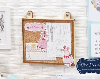 Hanging Noticeboard Corc Board display- miniature handmade Dollhouse 1:12, sewing room, craft, decoration