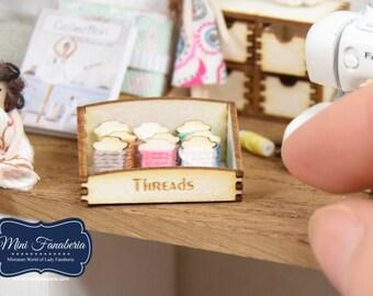 Counter Display THREADS storage box SET -  miniature handmade Dollhouse 1:12, sewing room, craft, decoration