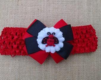 Ladybug Headband, Baby Girl Headband, Summer Headband, Baby Headband, Baby Hair Accessory, Ladybug Hairbow, Girls Hairbow, Flower Headband