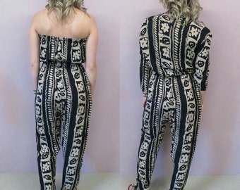 Vintage One Piece Romper//80s jumpsuit high waisted hippy baggy harem pants hippie gypsy two piece suit