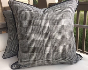 "Ralph Lauren ""Hathaway Glen Plaid"" wool-black and cream pillow cover"