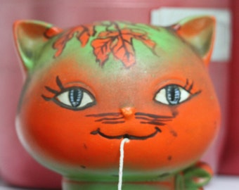 Vintage Kitsch Ceramic Cat string holder late 1960's early 1970's Rare