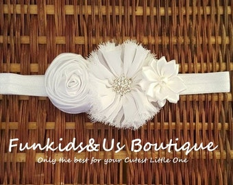 White Shabby chic rose rhinestone Baby Headband- Girl white headband-Newborn Headband  Christening Accessories-Teen headband