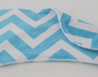 Burp Cloth - Aqua and White Chevron Burp Cloth - Minky Burp Cloth - Modern Burp Cloth