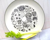 Mid century Georges Briard Enamel Vegetable Design Serving Plate Black and White
