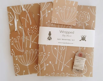 Handmade Gift Wrap Set: 2 Sheets Kraft Seed Head Wrapping Paper, 2 Gift Tags, 4 Stickers, 5m Hemp Twine