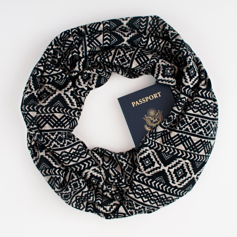 Pueblo scarf w hidden pocket travel hidden by speakeasysupplyco for Travel scarf