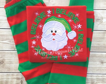 Christmas Pajamas Matching Christmas Pajamas Pajamas with Santa Christmas Card Photo Outfit Monogram Christmas Pajamas Polar Express Pajama