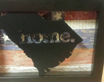 Shadow Box, Display Case, State Home Pride, American Wall Hanging, USA, South Carolina,Southern Pride Gift,Personalized, Home, Patriotic