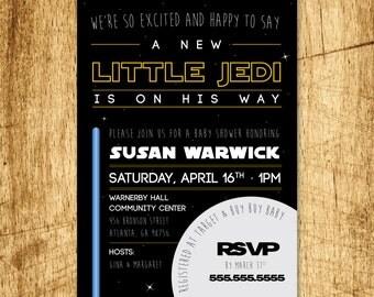 "Custom Star Wars Inspired Baby Shower Invitation. Printable DIY 5x7"" flat card"