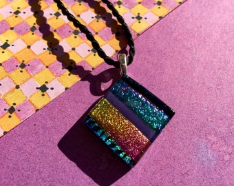 Fused Glass Pendant with Dichroic Colors