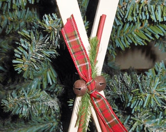 Country Christmas Ornament Wood Ski's Ornament Rustic Christmas Ornament Primitive Christmas Mini Ski's Country Decor