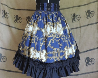 Blue and black baroque skirt