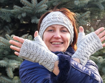 Light Gray  Ear Warmer And Gloves Set, Gray Ear warmer,Gray Gloves,Brown Ear warmer,Winter Headband ,Winter Ear warmer , Winter set
