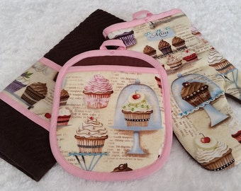 Pot Holder Oven Mitt Kitchen Towel Embellished Cupcake Oven Mitts Cupcake Kitchen