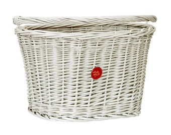 Wicker Bike Basket Bike Belle Classic White