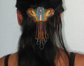 Vintage Beadwork, Native American Art, Handmade Barrette, Bead Hair Clip, Navajo Artist, Butterfly Design Art