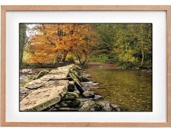 Fall photo print, Autumn print, River in Autimn, Tarr Steps Print, Tarr steps on Exmoor in autumn, Exmoor photo print, Clapper Bridge //