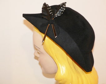 1940's Black Felt Sloouch Hat with Feather Trim