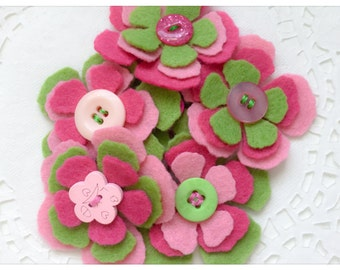 Felt Flowers - Craft Supplies For Your Sewing & Needlecrafting - Applique Embellishment Die Cuts - Pink And Green Felted Flowers - Naomi