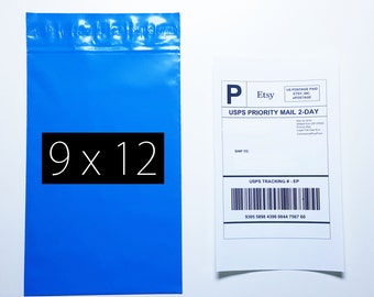 100 Mailer & Labels | 100 9x12  Blue Poly Mailer 100 Shipping Label