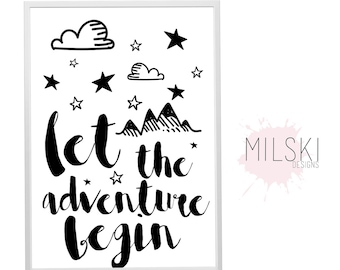 Let the adventure begin wall print