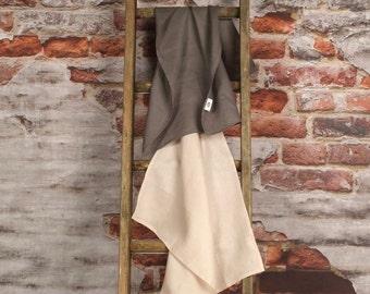 Crisp Linen Tea Towels - Set of 2, Charcoal and Beige Available