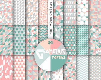 Mint and coral geometric digital paper scrapbooking pattern mosaic triangles green mint salmon gray grey pink geometrical background graphic