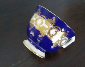 Vintage Aynsley Fine English Bone China Cup Cobalt Blue With Gold Filigree Overlay 1215