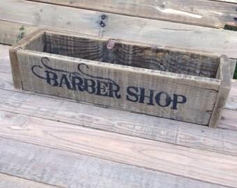 Wood tray pallet wood BARBER SHOP
