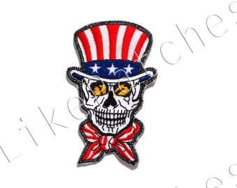 American Skull - American Ghost - Halloween Patch - American Flag - Flag of America New Iron On Patch Embroidered Applique