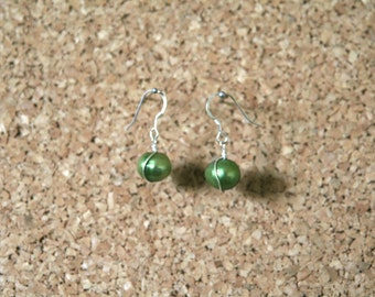 Earrings. 925 Sterling Silver chartreuse green baroque cultivated pearl earrings.