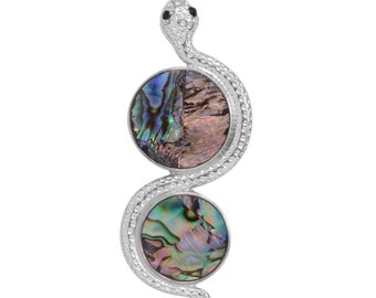 Snake Abalone Shell Pendant in Silver-tone Without Chain