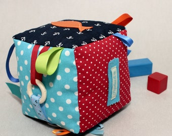Fabric Baby Block, Sensory Toys, Montessori Baby, Teething Ring,  Baby Shower, Ready to Ship