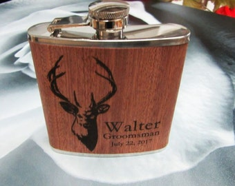 Wood Flask with Deer Design - Hunter Flask