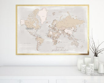 "You are my greatest adventure map, 36x24"" printable map rustic world map, beach home decor, distressed world map with cities -  map141 147"