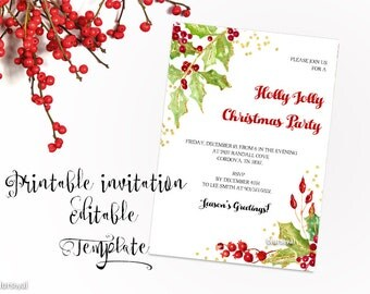 Printable Christmas party invitation TEMPLATE, Christmas editable template, editable template for word, holly and berries invite   -WDI029