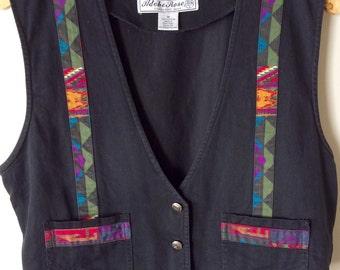 Groovy Vintage 1990s Adobe Rose Multicolored Geometric Vest Women's size Medium M