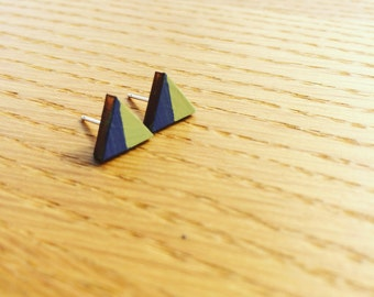 Atlantic Blue and Village Green Handpainted Triangle Wood and Sterling Silver Earrings