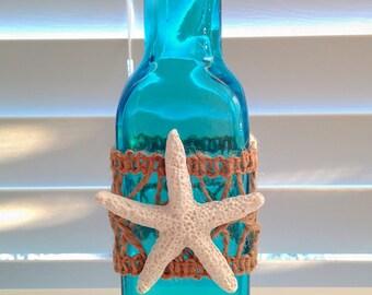 COASTAL CHIC turquoise/aqua glass bottle/vase/white starfish-hessian lace trim