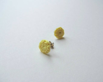 Crochet Small Stud Earrings- Lemon Yellow