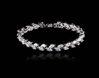 Rhodium plated cubic zirconia bridal bracelet, wedding jewelry, bridesmaid bracelet, luxury bridal jewelry