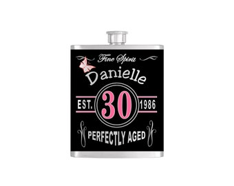 Over The Hill 30th Vintage Chic Birthday Flask By Bottoms Up Flasks  - Stainless Steel 8 oz Liquor Hip Flasks - Flask #365