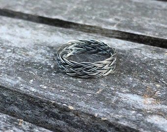 Wide Celtic braid ring in sterling