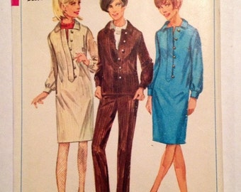 1966 Simplicity Pattern # 6696 Dress, Blouse & Slacks, Misses Size 12, Uncut