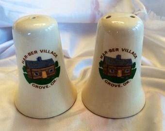 1980's Souvenir Har-Ber Village, Ok Salt and Pepper Shakers